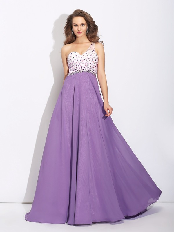 A-Line One-Shoulder Crystal Sleeveless Long Chiffon Dresses