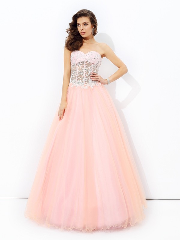 A-Line Sweetheart Lace Sleeveless Long Net Dresses