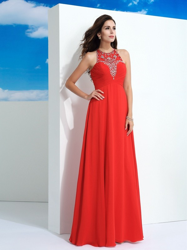 A-Line Sheer Neck Beading Sleeveless Long Chiffon Dresses