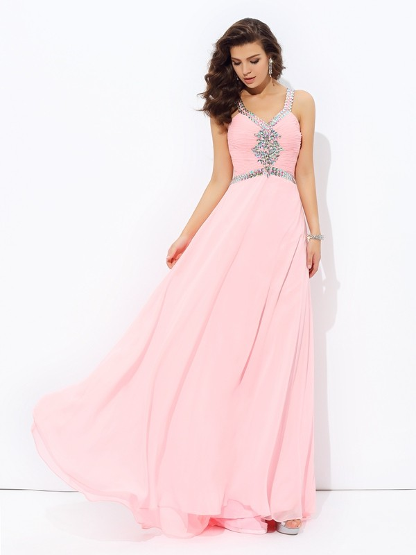 A-Line Straps Beading Sleeveless Long Chiffon Dresses
