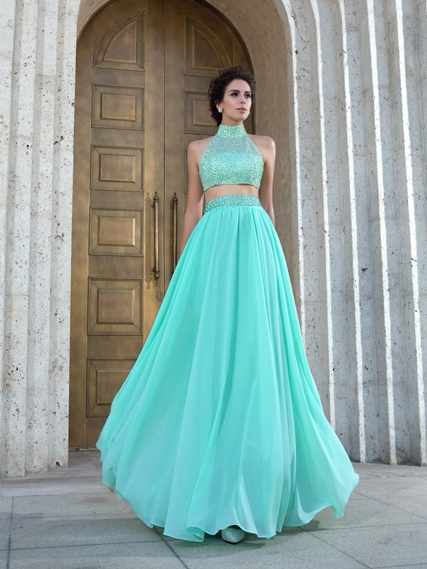 A-Line High Neck Beading Sleeveless Long Chiffon Two Piece Dresses