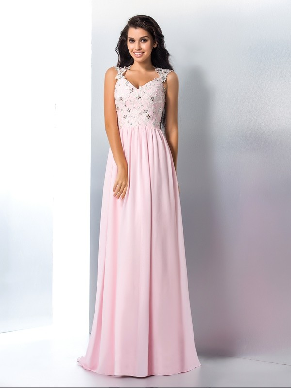 A-Line V-neck Applique Sleeveless Long Chiffon Dresses