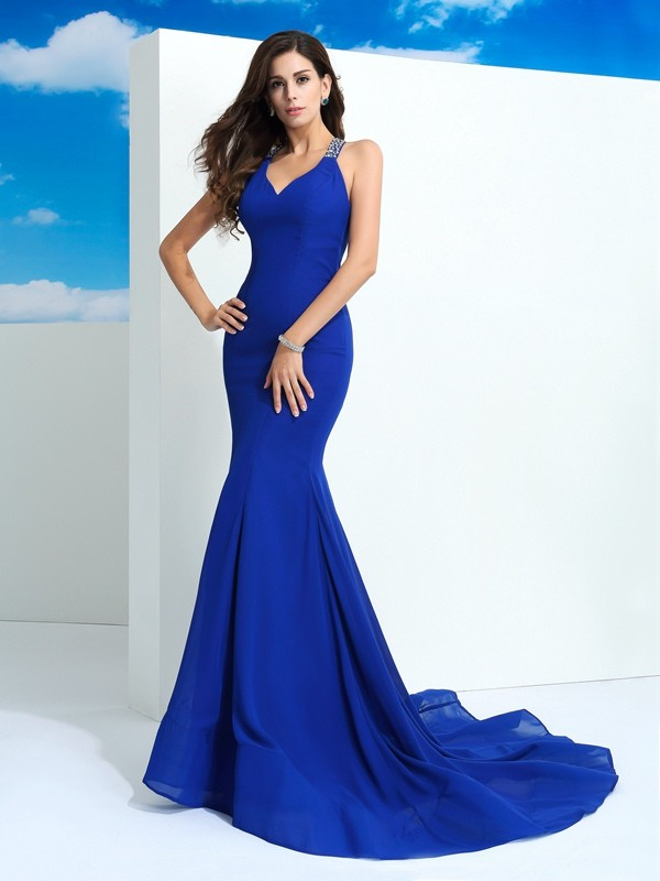 Sheath Straps Beading Sleeveless Long Chiffon Dresses