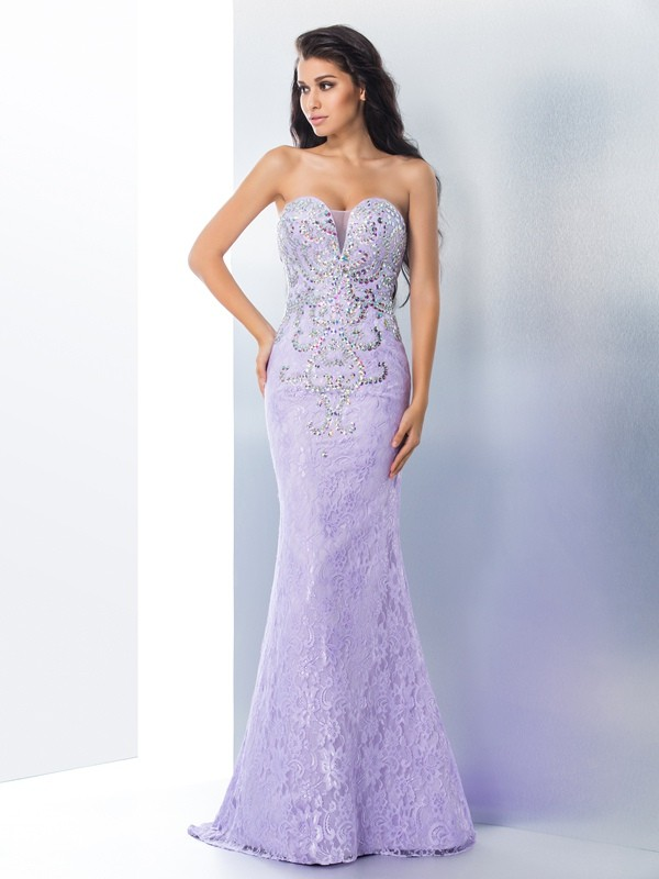 Mermaid Sweetheart Beading Sleeveless Long Lace Dresses