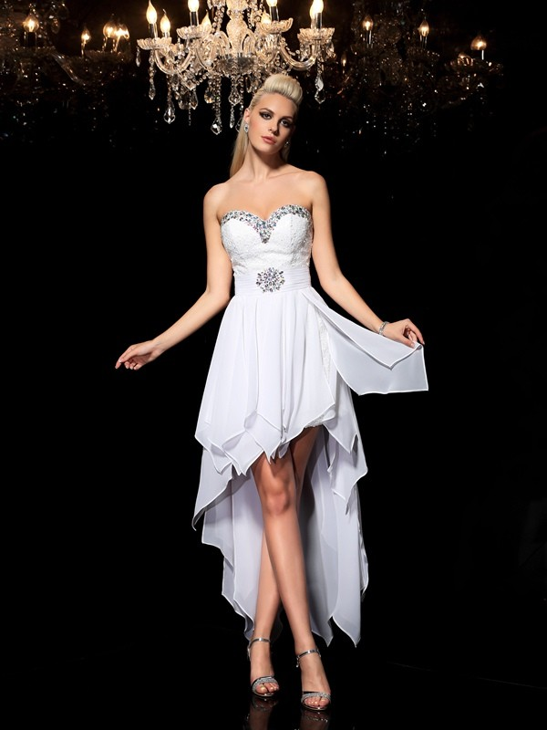 A-Line Sweetheart Beading Sleeveless High Low Chiffon Cocktail Dresses