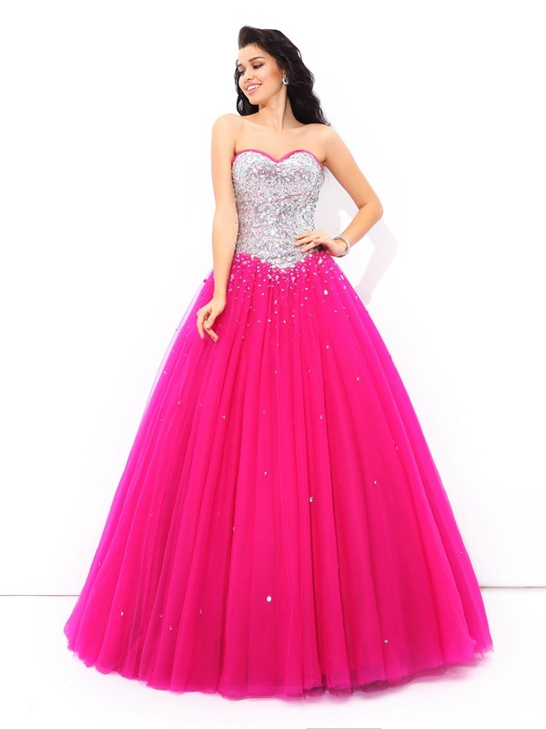 Ball Gown Beading Sweetheart Sleeveless Long Satin Debs Dress