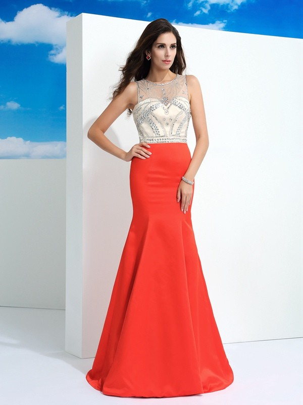 Mermaid Sheer Neck Beading Sleeveless Long Satin Dresses