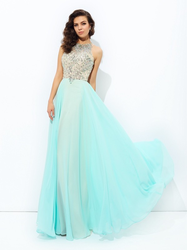 A-Line Jewel Beading Sleeveless Long Chiffon Dresses