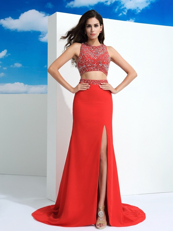Sheath Scoop Beading Sleeveless Long Chiffon Two Piece Dresses