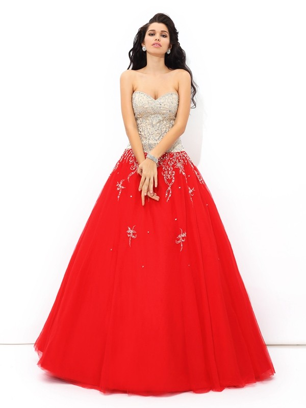 Ball Gown Sweetheart Beading Sleeveless Long Satin Debs Dress