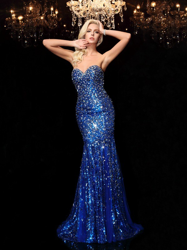 Trumpet Sleeveless Sweetheart Sequins Sweep/Brush Train Dresses