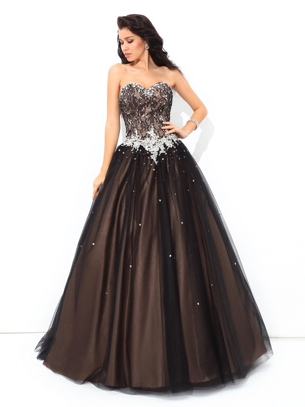 Ball Gown Sweetheart Beading Sleeveless Long Net Debs Dress