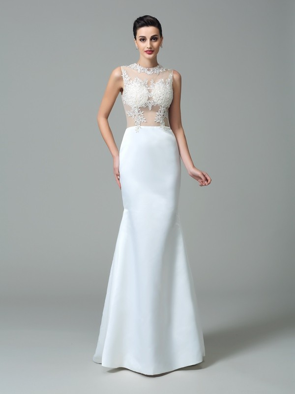 Sheath Jewel Applique Sleeveless Long Satin Dresses