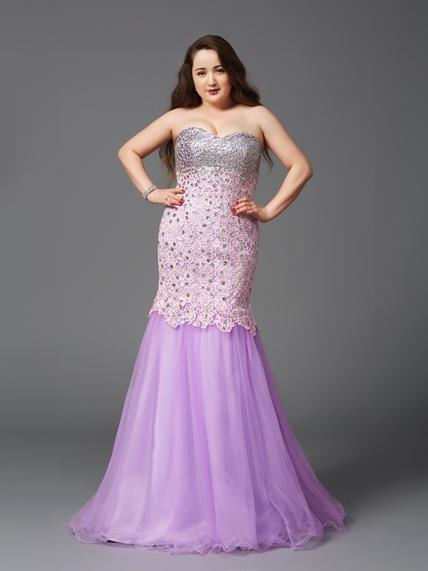 Mermaid Sweetheart Beading Sleeveless Long Net Plus Size Dresses