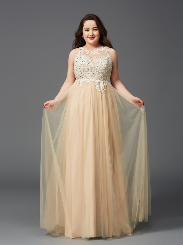 A-Line Scoop Rhinestone Sleeveless Long Net Plus Size Dresses