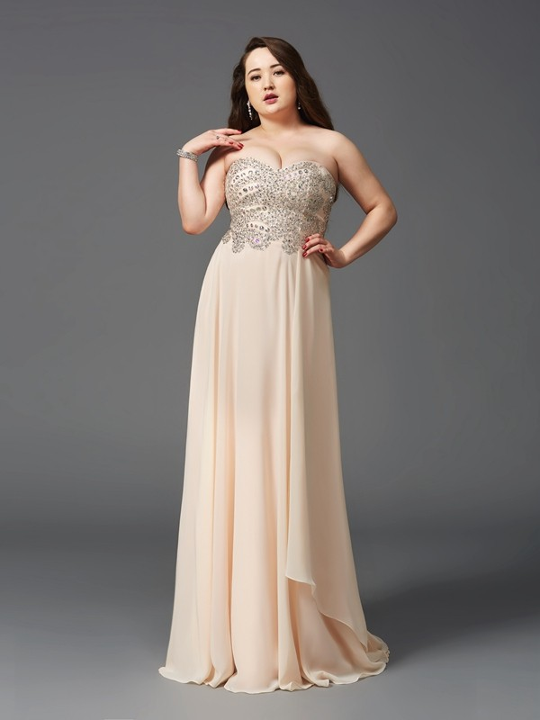A-Line Sweetheart Rhinestone Sleeveless Long Chiffon Plus Size Dresses