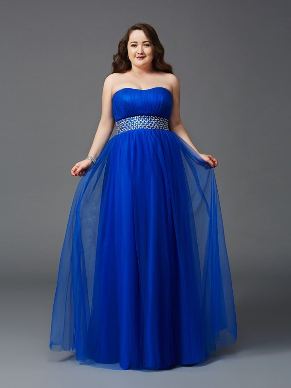 A-Line Strapless Rhinestone Sleeveless Long Net Plus Size Dresses