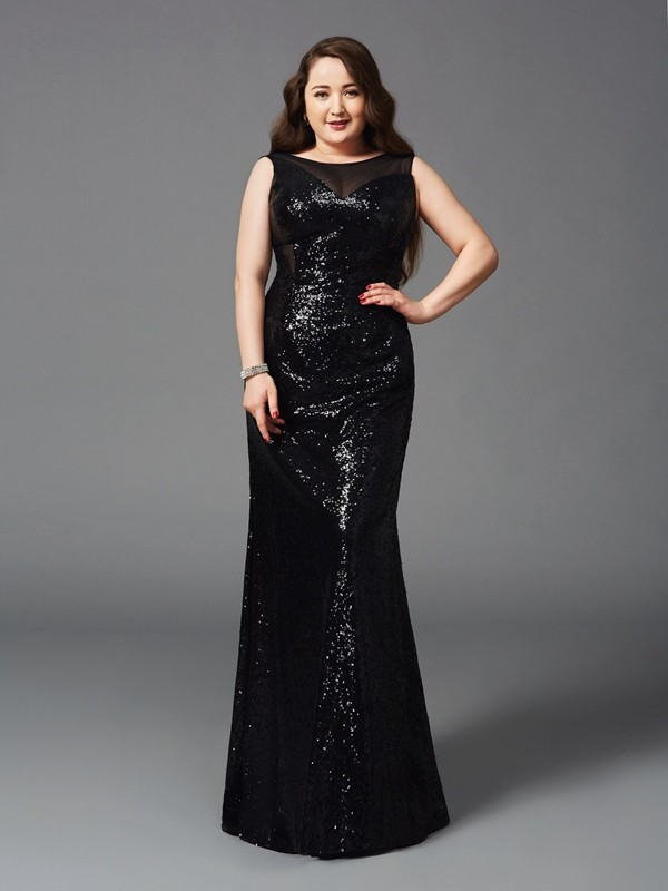 Sheath Scoop Sleeveless Long Sequins Plus Size Dresses