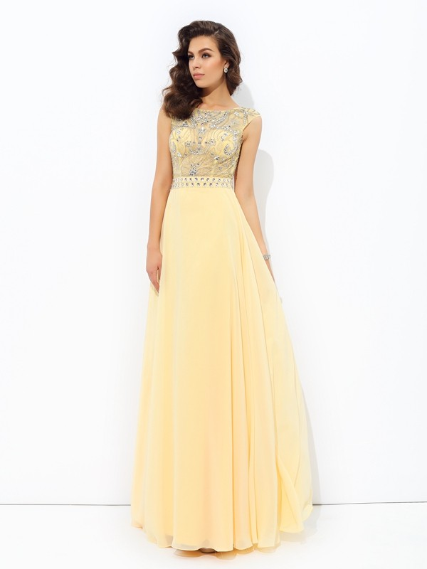 A-Line Bateau Beading Sleeveless Long Chiffon Dresses