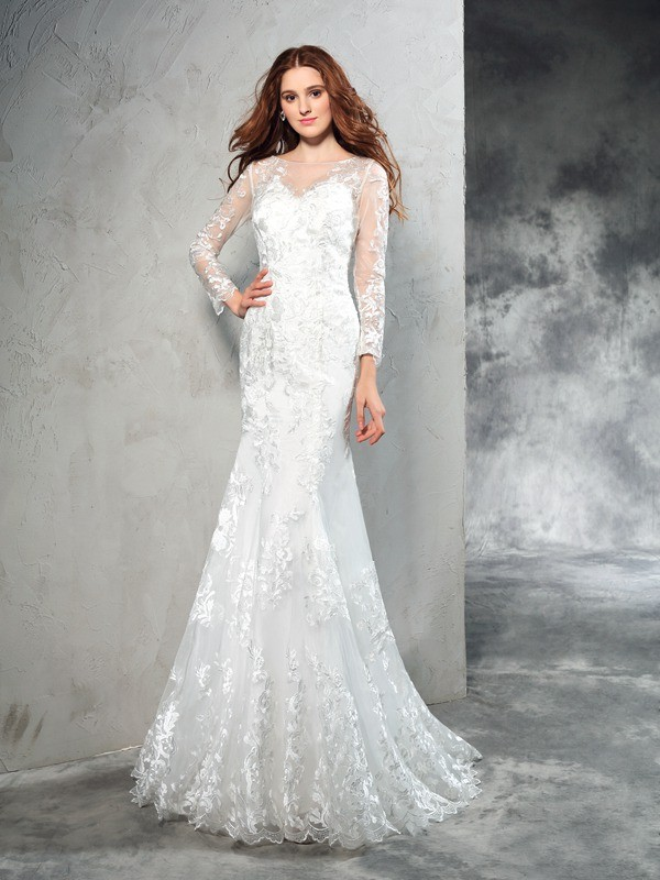 Sheath Sheer Neck Lace Long Sleeves Long Net Wedding Dresses
