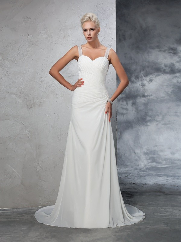 Mermaid Straps Ruched Sleeveless Long Chiffon Wedding Dresses