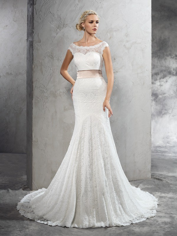 Sheath Sheer Neck Sash/Ribbon/Belt Sleeveless Long Lace Wedding Dresses