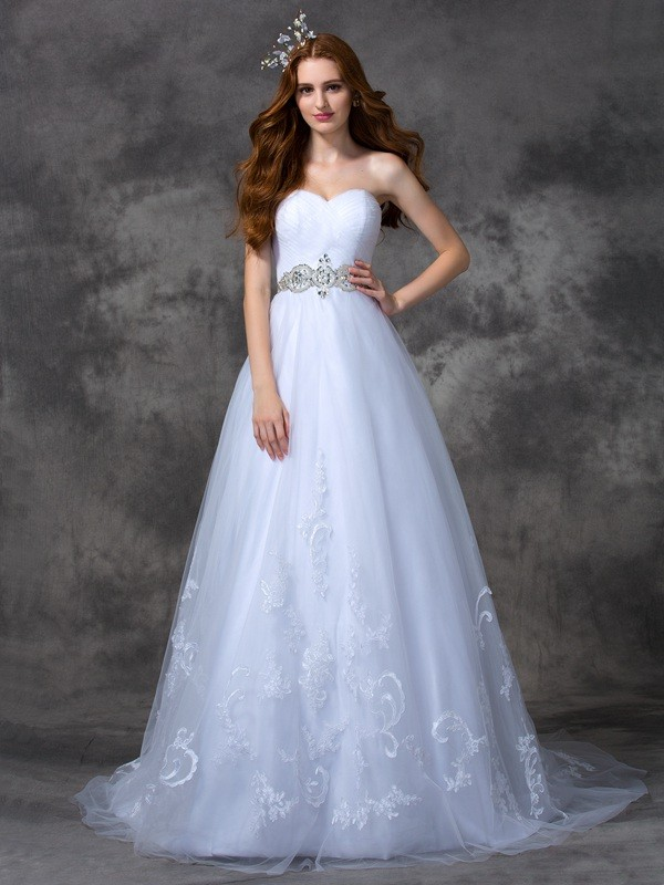 A-Line Sweetheart Beading Sleeveless Long Satin Wedding Dresses