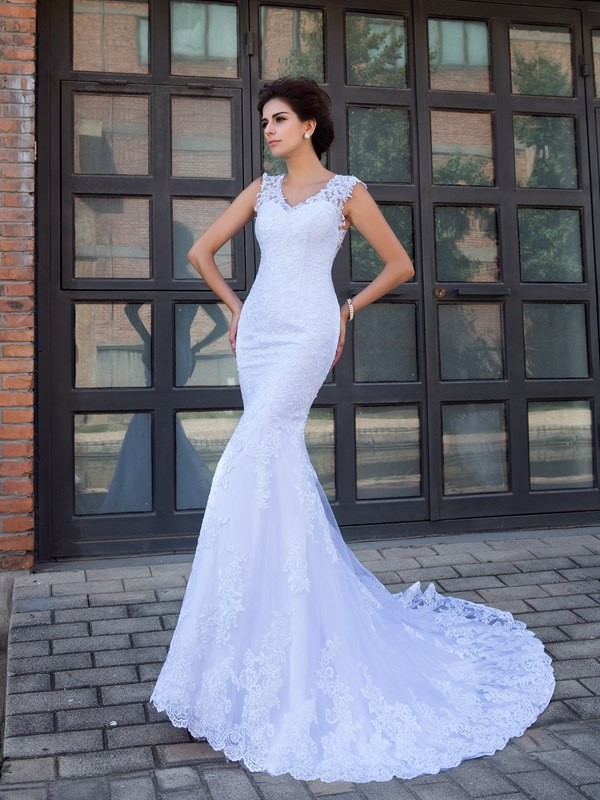 Mermaid V-neck Applique Sleeveless Long Satin Wedding Dresses