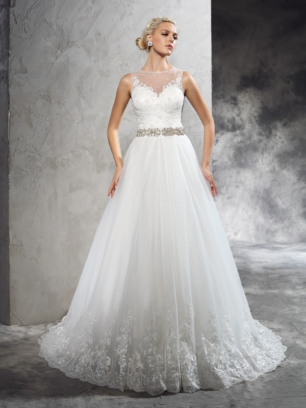 A-Line Sheer Neck Beading Sleeveless Long Net Wedding Dresses
