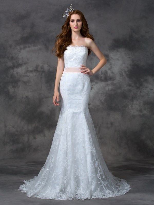 Mermaid Strapless Sash/Ribbon/Belt Sleeveless Long Lace Wedding Dresses