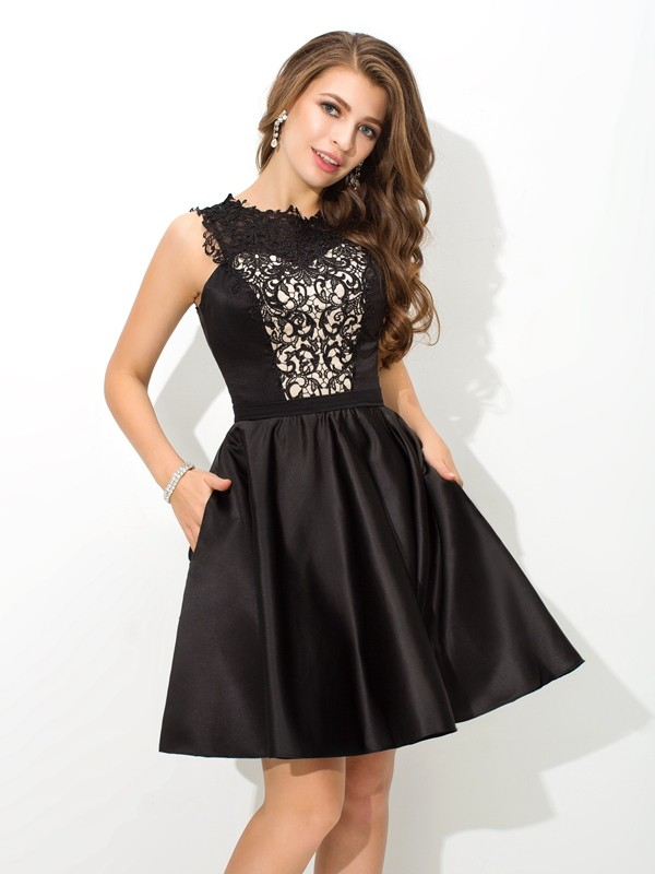 A-Line Scoop Lace Sleeveless Short Satin Cocktail Dresses