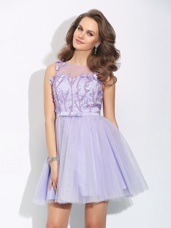 A-Line Bateau Applique Sleeveless Short Satin Dresses