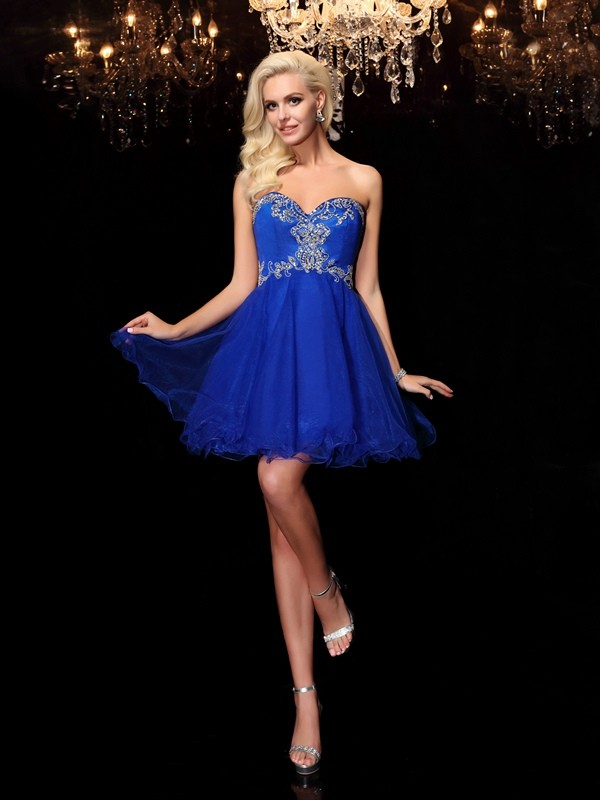 A-Line Sweetheart Beading Sleeveless Short Net Dresses