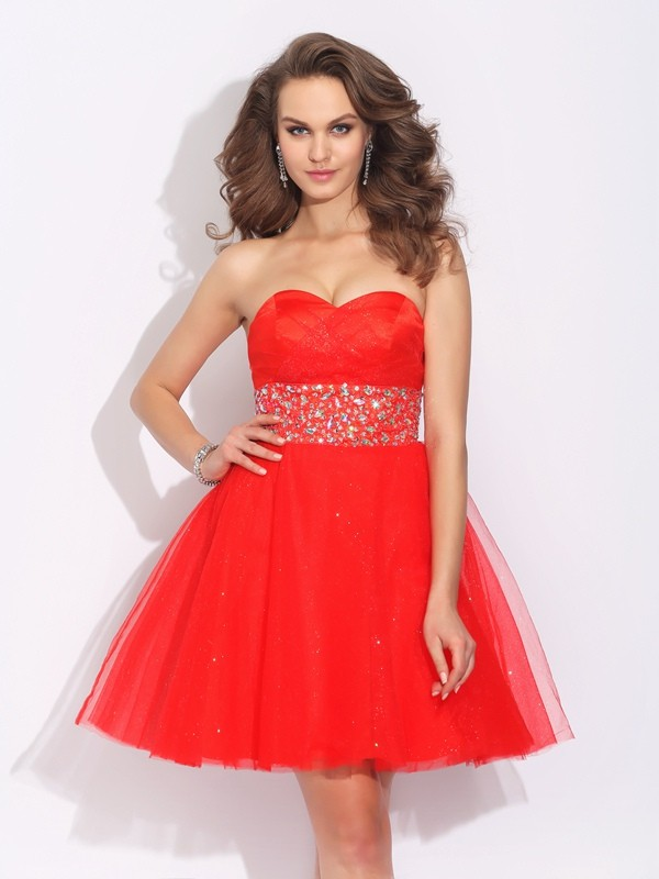 A-Line Sweetheart Rhinestone Sleeveless Short Net Dresses