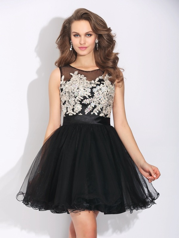 A-Line Scoop Ruffles Sleeveless Short Net Dresses