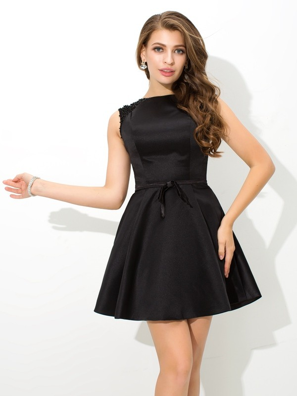 A-Line High Neck Sash/Ribbon/Belt Sleeveless Short Satin Cocktail Dresses