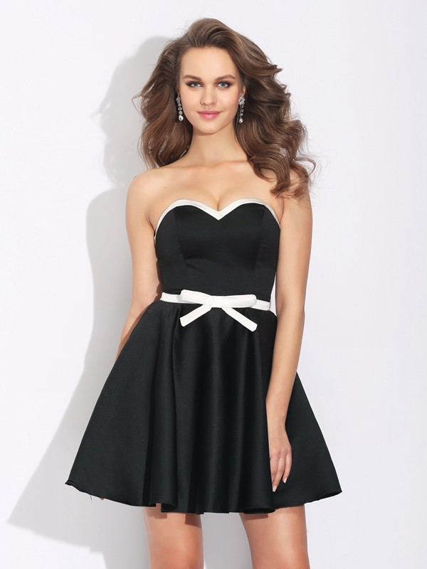 A-Line Sweetheart Bowknot Sleeveless Short Satin Dresses