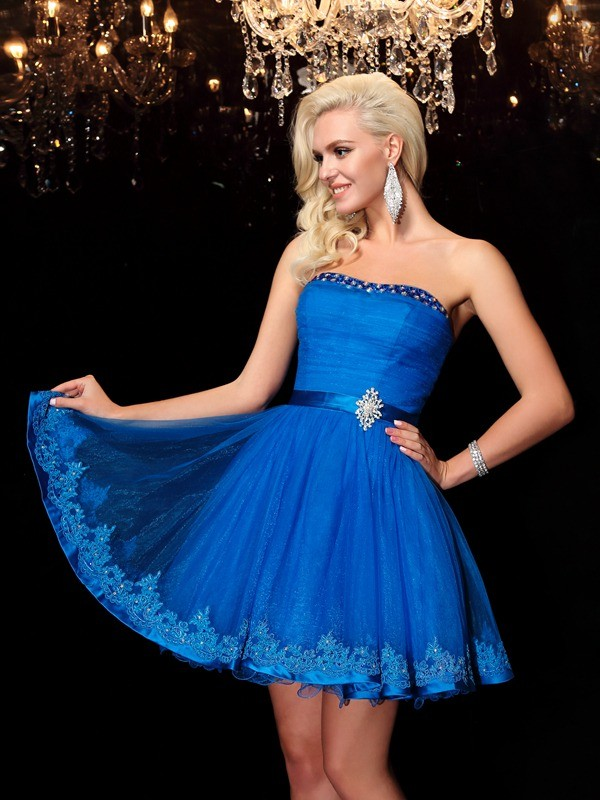 A-Line Strapless Beading Sleeveless Short Net Dresses