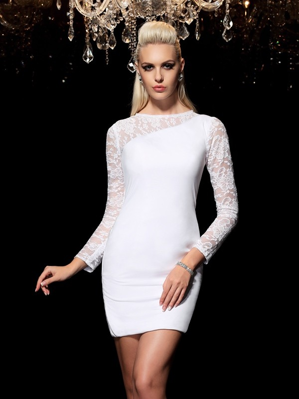 Sheath Scoop Lace Long Sleeves Short Elastic Woven Satin Cocktail Dresses