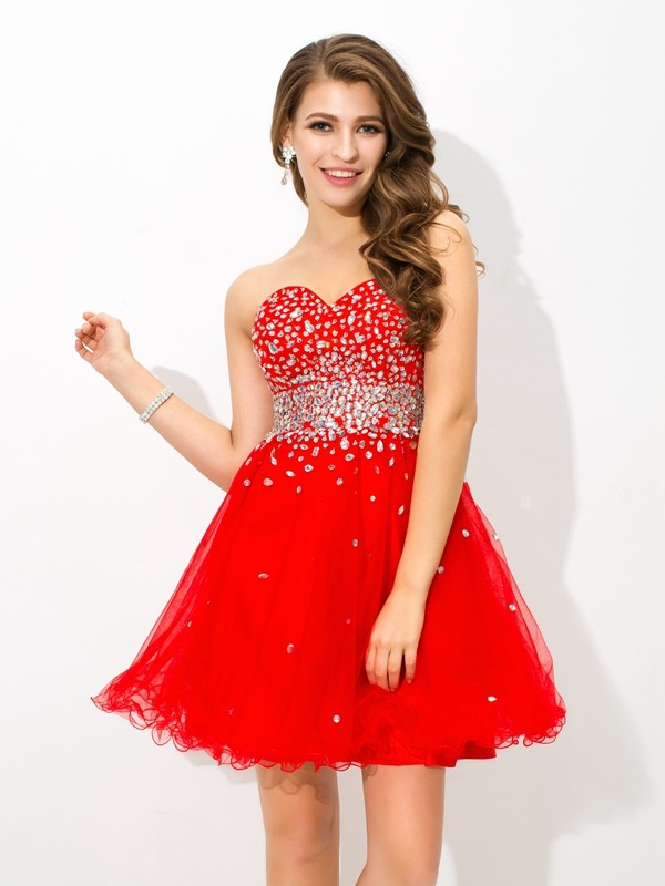 A-Line Sweetheart Beading Sleeveless Short Organza Cocktail Dresses