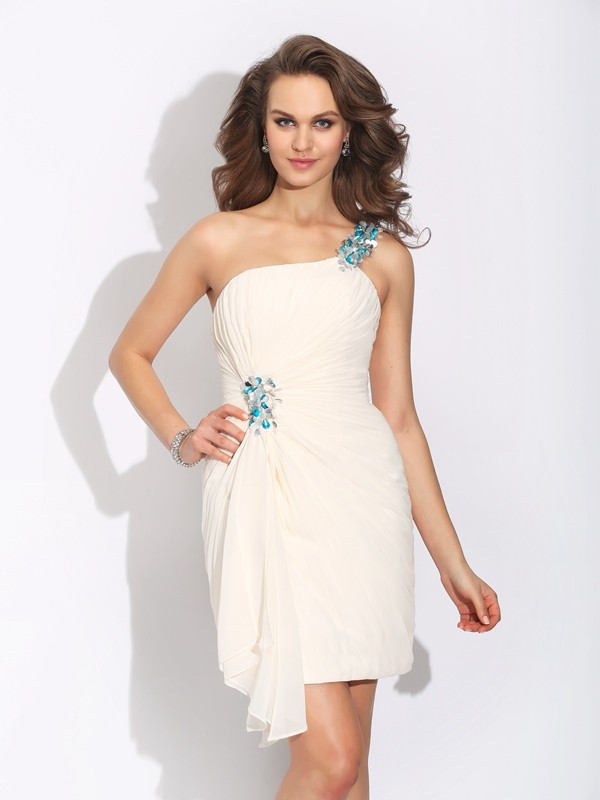 Sheath One-Shoulder Beading Sleeveless Short Chiffon Dresses