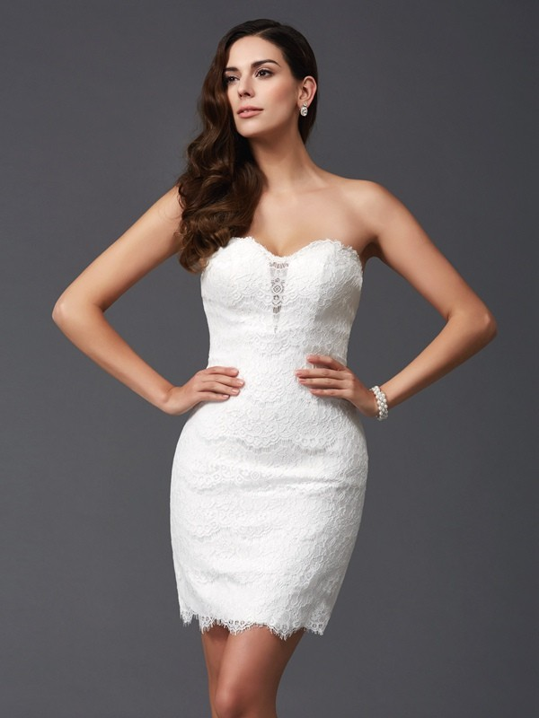 Sheath Sweetheart Lace Sleeveless Short Lace Dresses