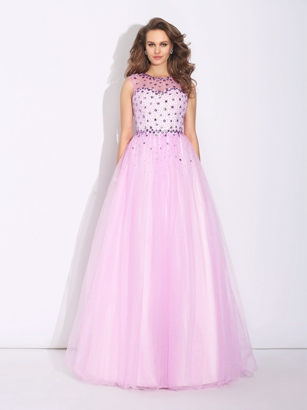 A-Line Jewel Rhinestone Sleeveless Long Net Dresses