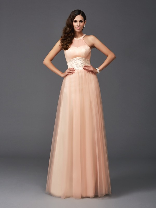 A-Line Halter Beading Sleeveless Long Net Dresses