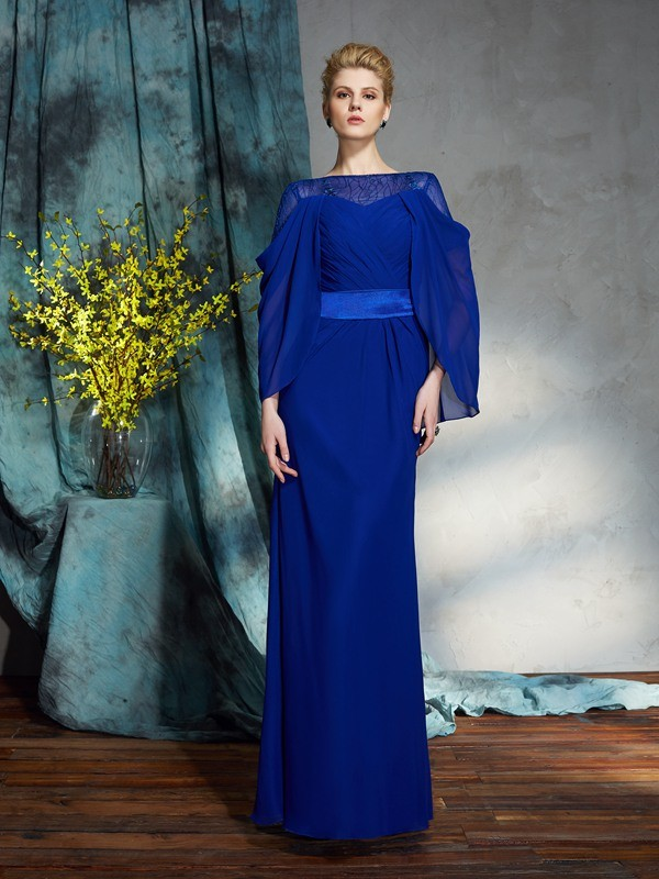 Sheath Bateau Long Sleeves Long Chiffon Dresses