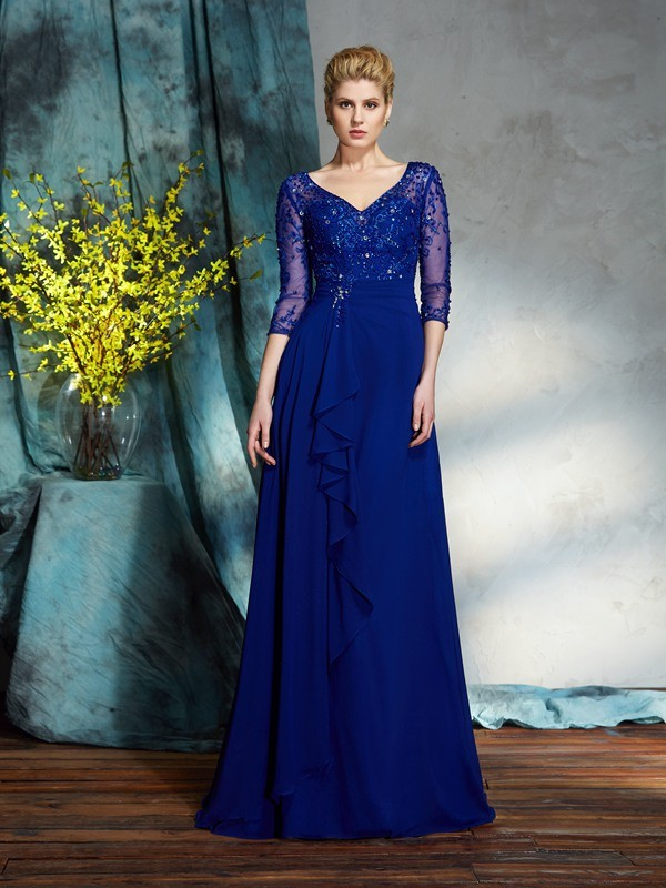 A-Line V-neck Sequin 3/4 Sleeves Long Chiffon Mother of the Bride Dresses