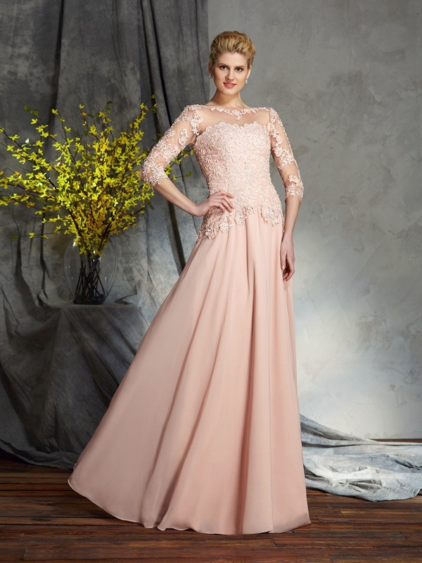 A-Line Scoop Applique 3/4 Sleeves Long Chiffon Mother of the Bride Dresses