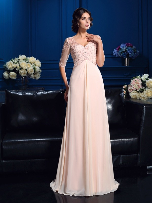 A-Line V-neck Beading 1/2 Sleeves Long Chiffon Mother of the Bride Dresses