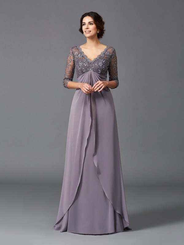 A-Line V-neck Lace 3/4 Sleeves Long Chiffon Mother of the Bride Dresses