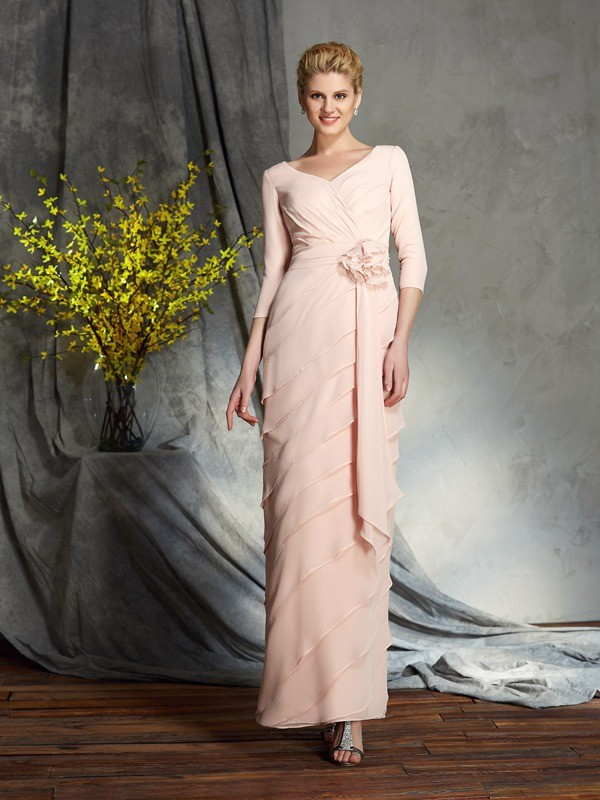 Sheath V-neck Hand-Made Flower 3/4 Sleeves Long Chiffon Mother of the Bride Dresses